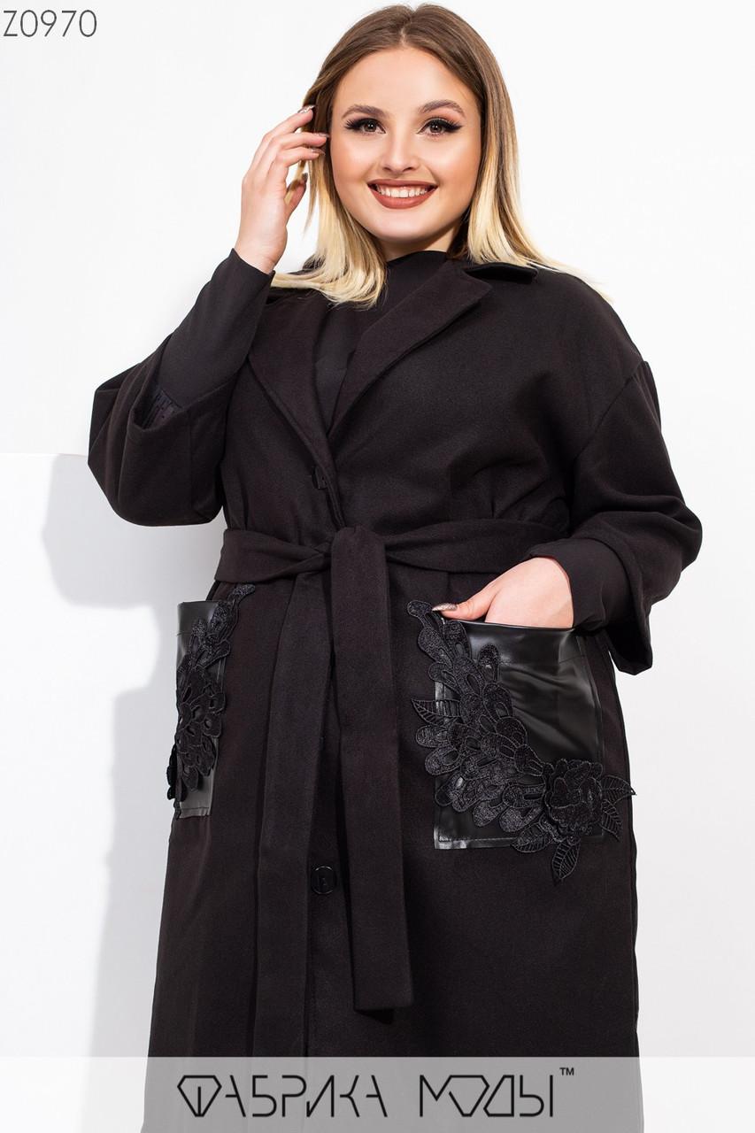 Легкое женское кашемировое пальто батальных размеров с накладными карманами tez115539