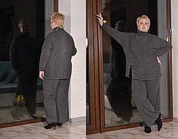 Женский ангоровый брючный костюм батальных размеров с брюками клеш tez1015450