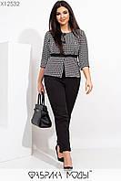Женский брючный костюм батальных размеров с зауженными укороченными брюками и блузой tez115503, фото 1