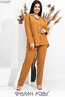 Женский брючный костюм батальных размеров с прямым пиджаком tez115552, фото 1