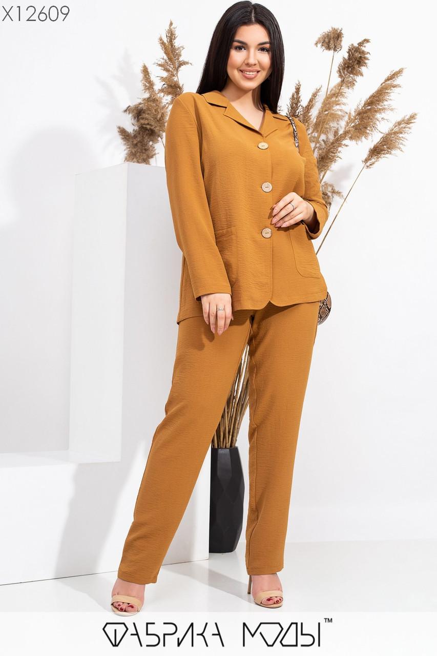 Женский брючный костюм батальных размеров с прямым пиджаком tez115552