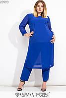 Женский брючный костюм батальных размеров с удлиненной туникой и вставками сетки tez115565, фото 1