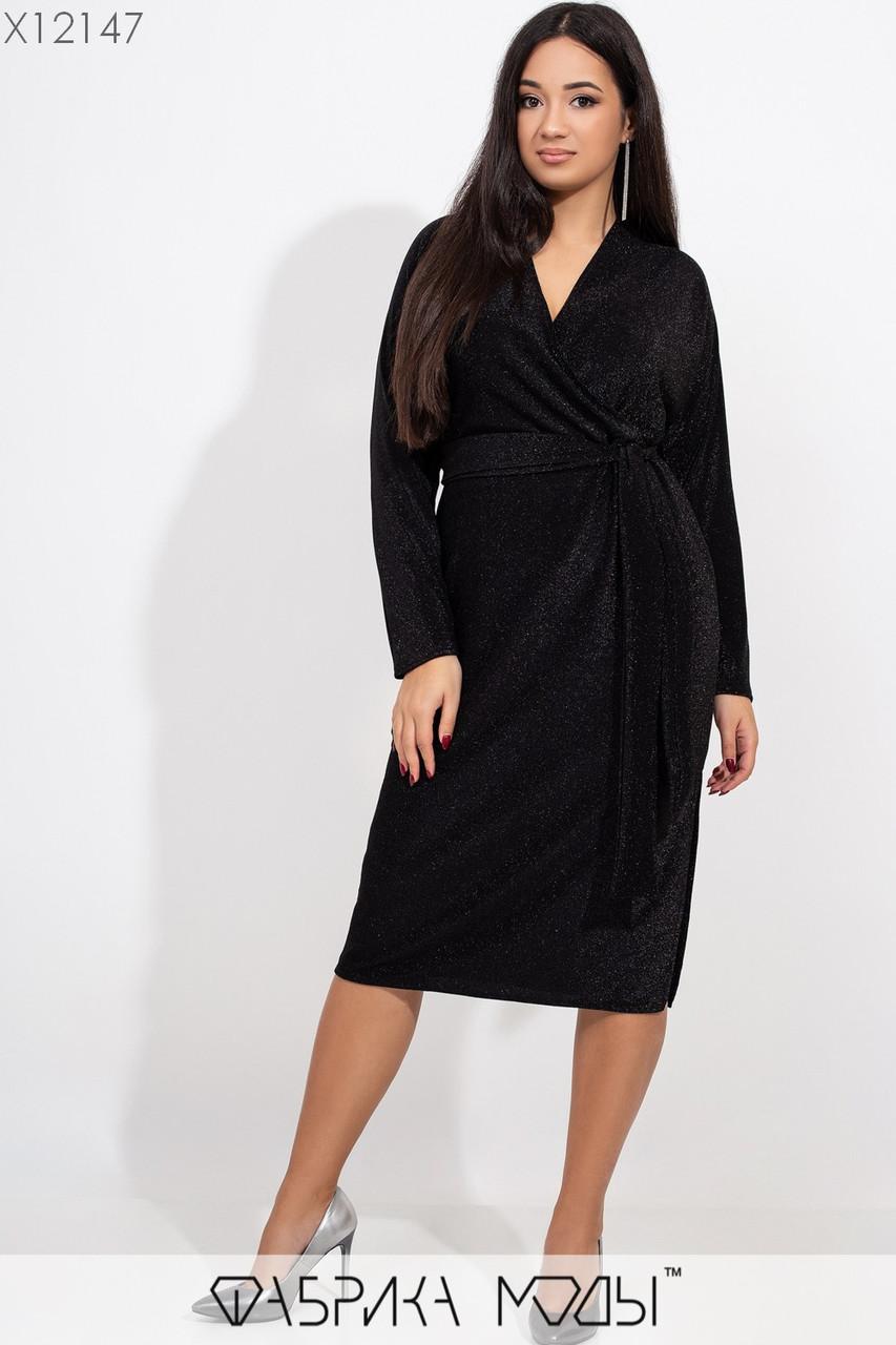 Платье миди из люрекса батальных размеров с верхом на запах и длинным рукавом tez115414