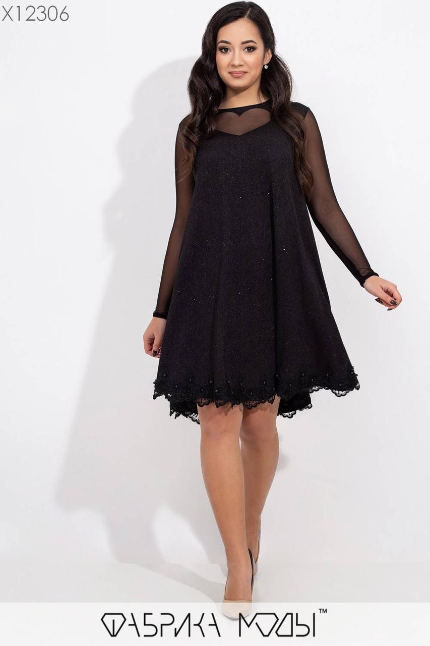 Платье трапеция батальных размеров с отделкой из кружева и рукавами из сетки tez115456