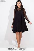 Платье трапеция батальных размеров с отделкой из кружева и рукавами из сетки tez115456, фото 1
