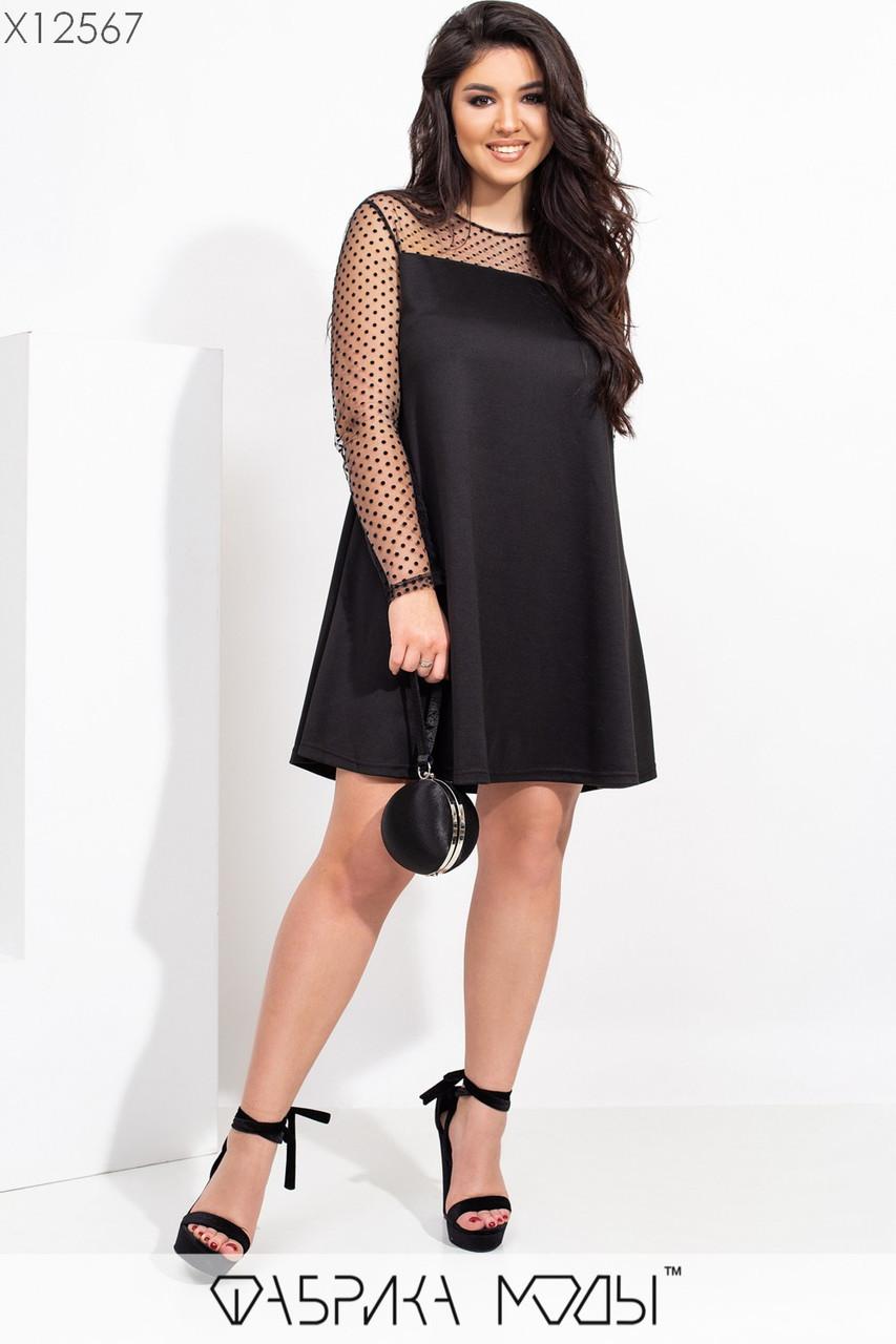 Платье трапеция батальных размеров с рукавами из сетки tez115529
