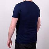 Мужская синяя однотонная футболка большого размера \ Чоловіча синя однотонна футболка великого розміру, фото 2