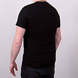 Мужская черная однотонная футболка большого размера \ Чоловіча чорна однотонна футболка великого розміру, фото 2