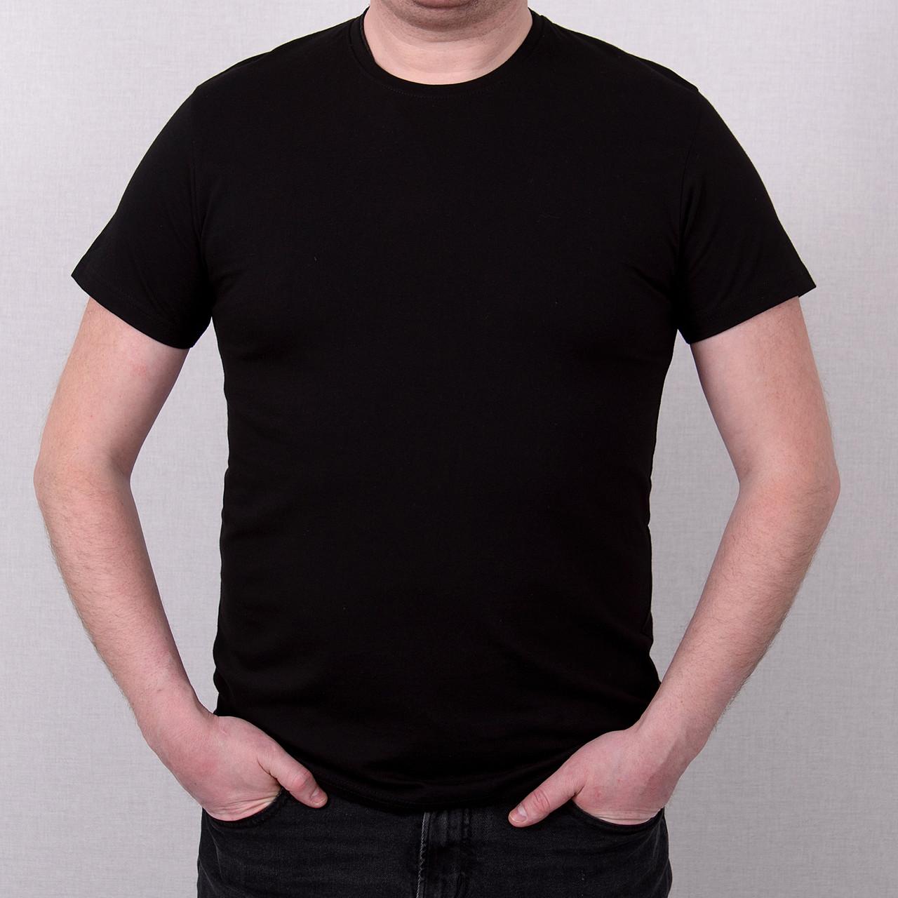 Мужская черная однотонная футболка большого размера \ Чоловіча чорна однотонна футболка великого розміру