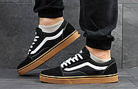 Кеды мужские Vans Old Skool черные с коричневой подошвой
