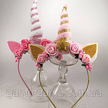 Обруч Единорог Украшение для волос золотой розовый