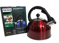 Чайник нержавійка кольоровий Rainberg 3.0 L, фото 1