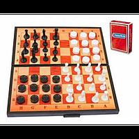 """Шахи """"3 в 1+"""" (шахи, шашки, нарди, гральні карти)  арт.5240"""