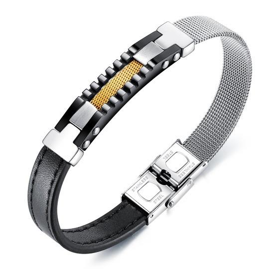 """Комбинированный браслет из кожи и стали """"Нуар"""""""
