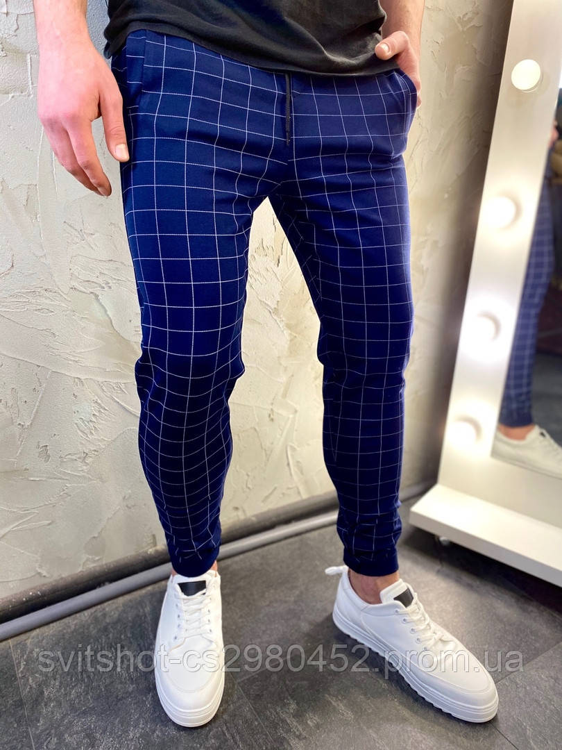 Крутые брюки ,которые взрывают весенний сезон, темно-синие в клетку