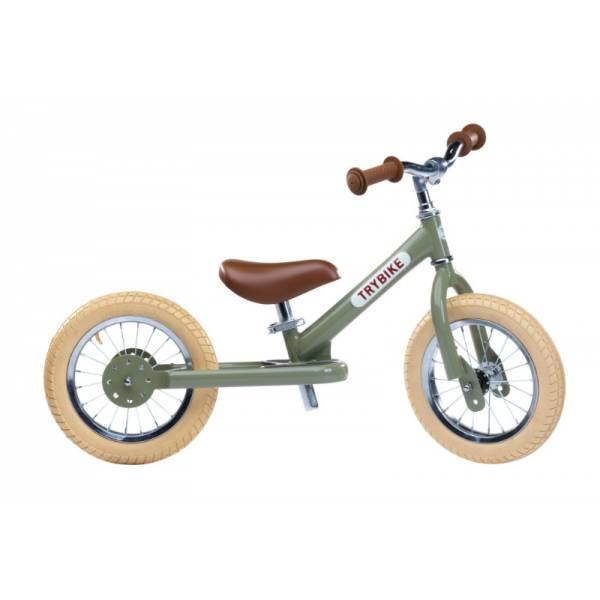 Trybike Балансирующий велосипед беговел 2 в 1 оливковый 6167 Steel 2 in 1 Balance Bike Trike green