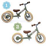 Trybike Балансирующий велосипед беговел 2 в 1 оливковый 6167 Steel 2 in 1 Balance Bike Trike green, фото 5