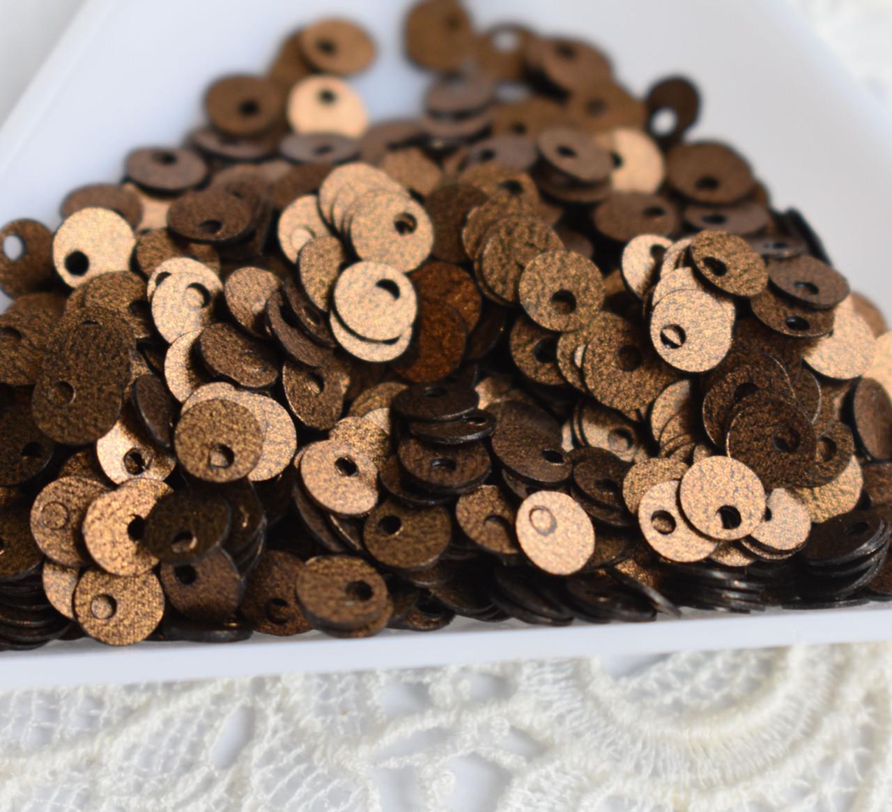 Пайетки плоские 4 мм, шоколадные , 3 грамма