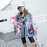 Женская джинсовая куртка Pink Panther с надписями и пайетками голубая
