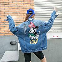 Жіноча джинсова куртка Mini Mouse з прикрасами і паєтками блакитна