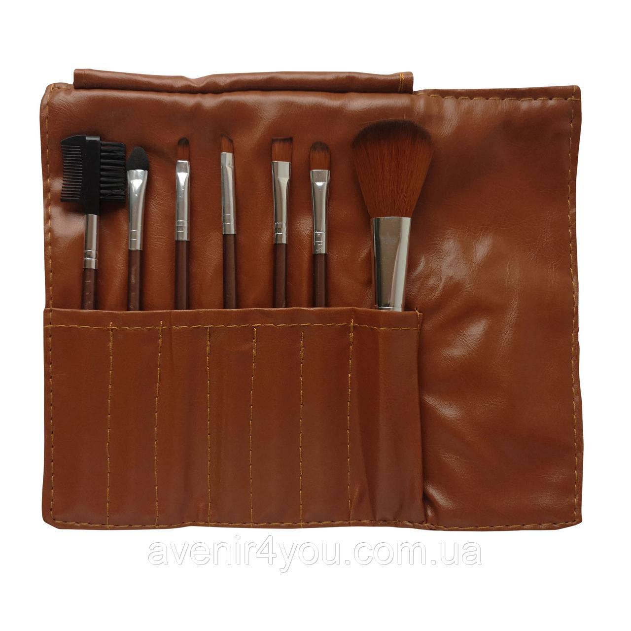 Набор кистей для макияжа 7 шт в чехле Бронзовый