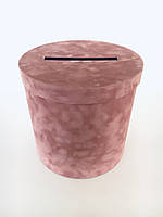 Весільна коробка на гроші велюр h25/d25(з прорізом), фото 1