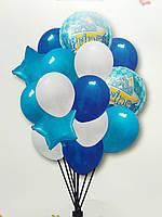 Набір фольгованих та латексних кульок блакитний Prince (15 шт. в пак.)