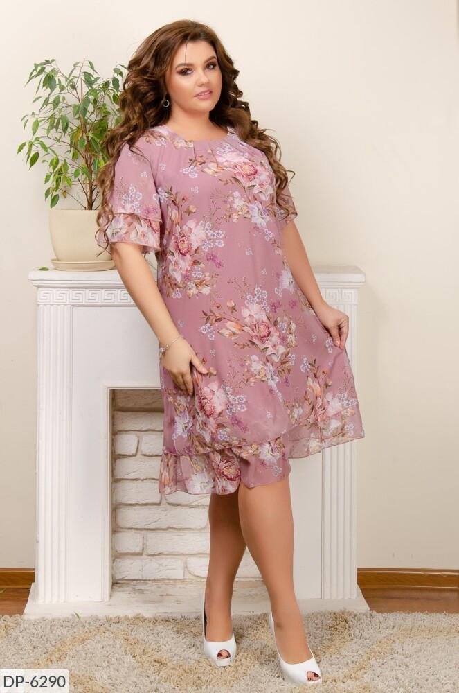 Нарядное летнее шифоновое платье больших размеров 50-56 арт 003