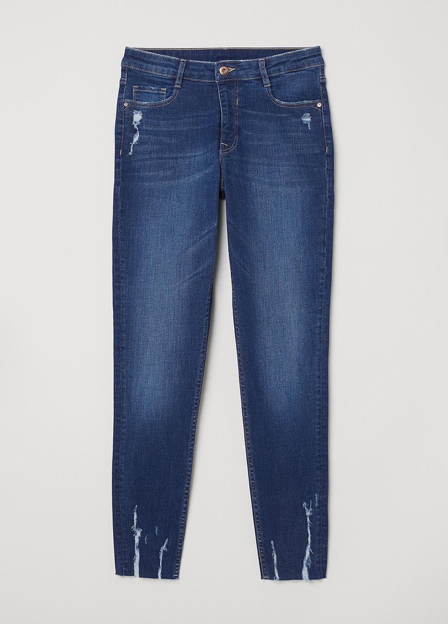 Синие демисезонные зауженные джинсы H&M