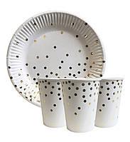 """Набор одноразовой посуды """" Золотое конфетти """" Тарелки -10 шт Стаканчики - 10 шт"""
