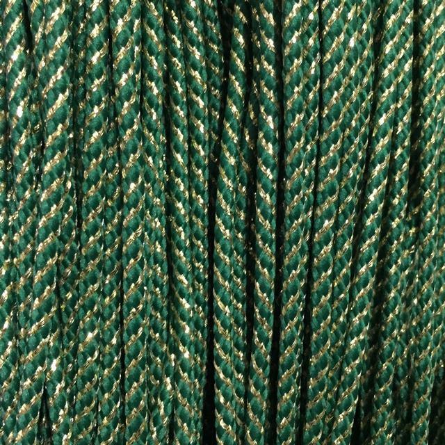 Шнур декоративный с наполнителем п/э 4мм цв зеленый с золотом (уп 90м) Ф