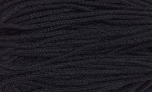 Шнур для одежды круглый х/б 5мм цв черный (уп 100м) Ф