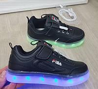 Детские кроссовки чёрные фила светящиеся с подсветкой Led 32-37р, фото 1