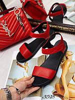 Mario! Летние женские сандалии натуральная красная кожа без каблука на липучке