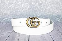 Узкий белый ремень кожаный в стиле Gucci (Гуччи)