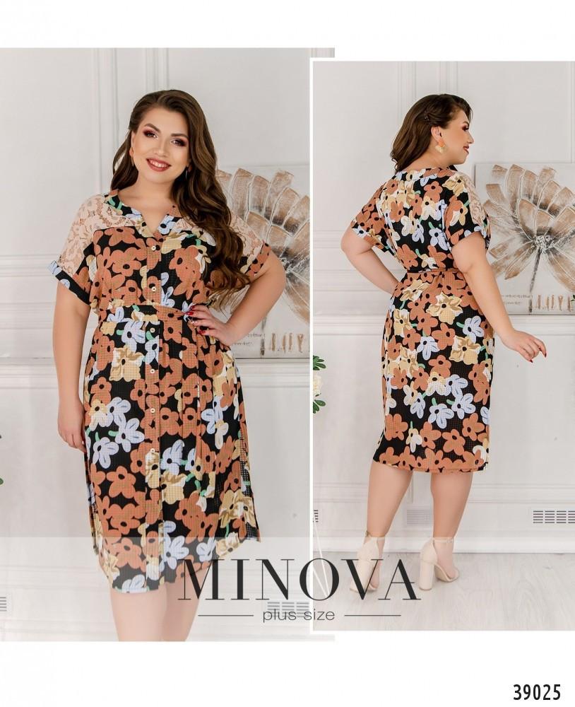 Летнее батистовое платье батал Minova Размеры: 50-52, 54-56, 58-60, 62-64
