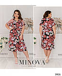 Летнее батистовое платье батал Minova Размеры: 50-52, 54-56, 58-60, 62-64, фото 3