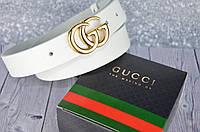 Узкий ремень кожаный в стиле Gucci (Гуччи) БЕЛЫЙ