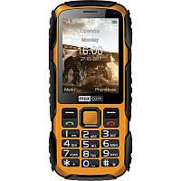 Кнопочный телефон ударопрочный с мощным аккумулятором  на 2 сим карты Maxcom MM920 Black-Yellow русс.кнопки