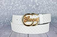 Белый кожаный ремень в стиле Gucci (Гуччи)
