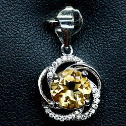 Серебряный кулон с цитрином оранжево-желтым, Ø8 мм., 683ПЦ