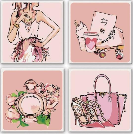 Картины по номерам Полиптих Розовые мечты
