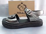 Комфортні шкіряні сандалі на платформі Milli Gold, фото 6