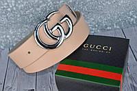 Кожаный ремень в стиле Gucci (Гуччи) ПУДРА