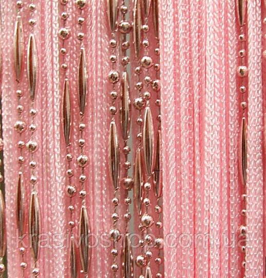 Шторы  нити   цепи однотонные розовые №5