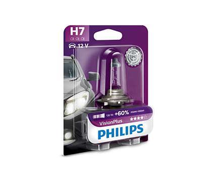 Лампа галогенна PHILIPS Vision Plus +60% H7 55W 12V