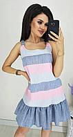 ЮН2535 Летнее льняное женское платье в полоску, фото 1