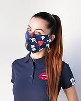Медицинская многоразовая двухслойная маска с принтом зубки, фото 1