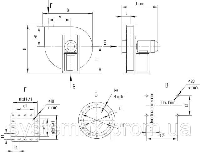 Габаритні і приєднувальні розміри відцентрового вентилятора ВВД 6 3 (Виконання №1)