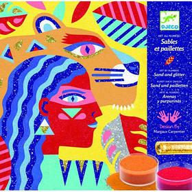 Художній комплект малювання кольоровим піском тотемні тварини djeco (DJ08633)